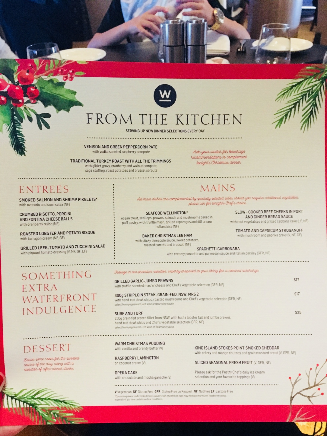 Waterfront Christmas menu